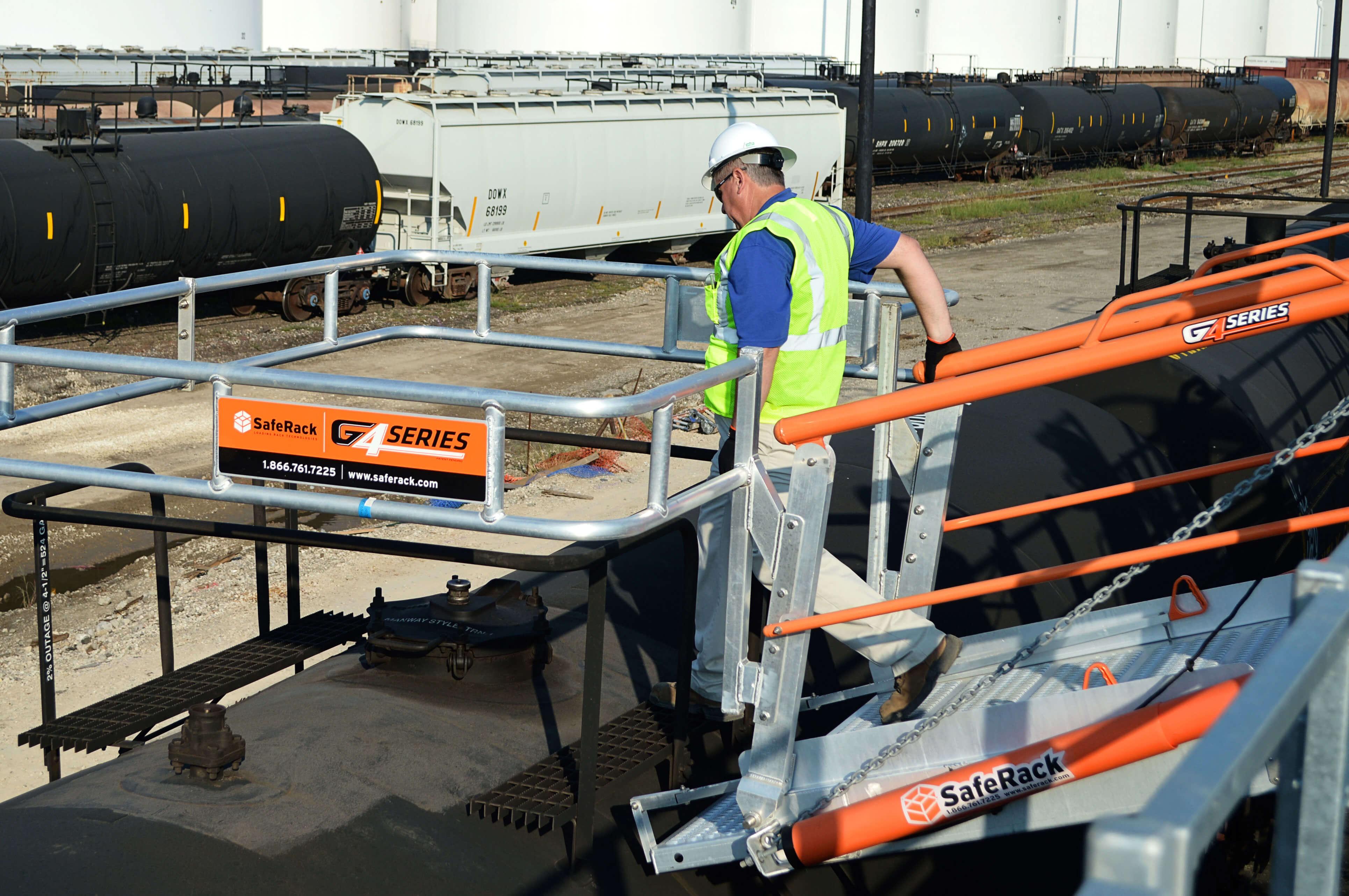 Metal Railcar Platform With Fall Protection