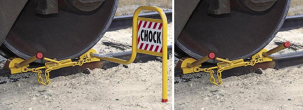 Dbl Railroad Wheel Chock w/ Tension Clamp & Padlock