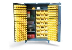 bin storage cabinet with wardrobe style shelves