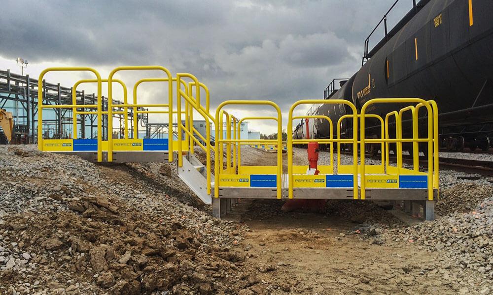 elongated work platform metal handrail system 4