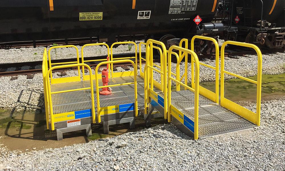 Work Platform With Metal Safety Handrails