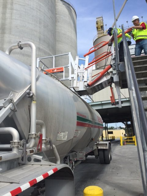 Loading gangway for cement industry truck loading