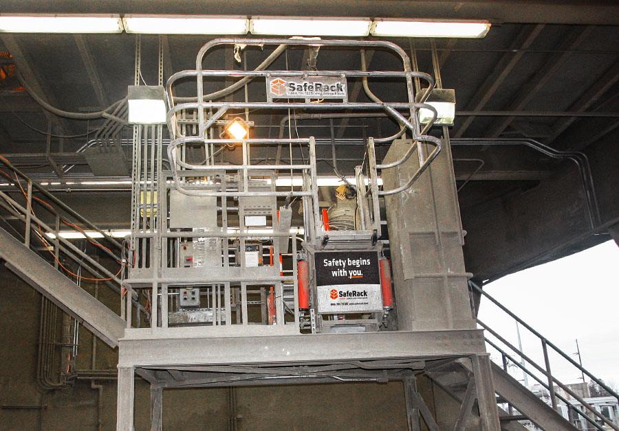 Cement truck offset SAS self adjusting stair gangway 900x628