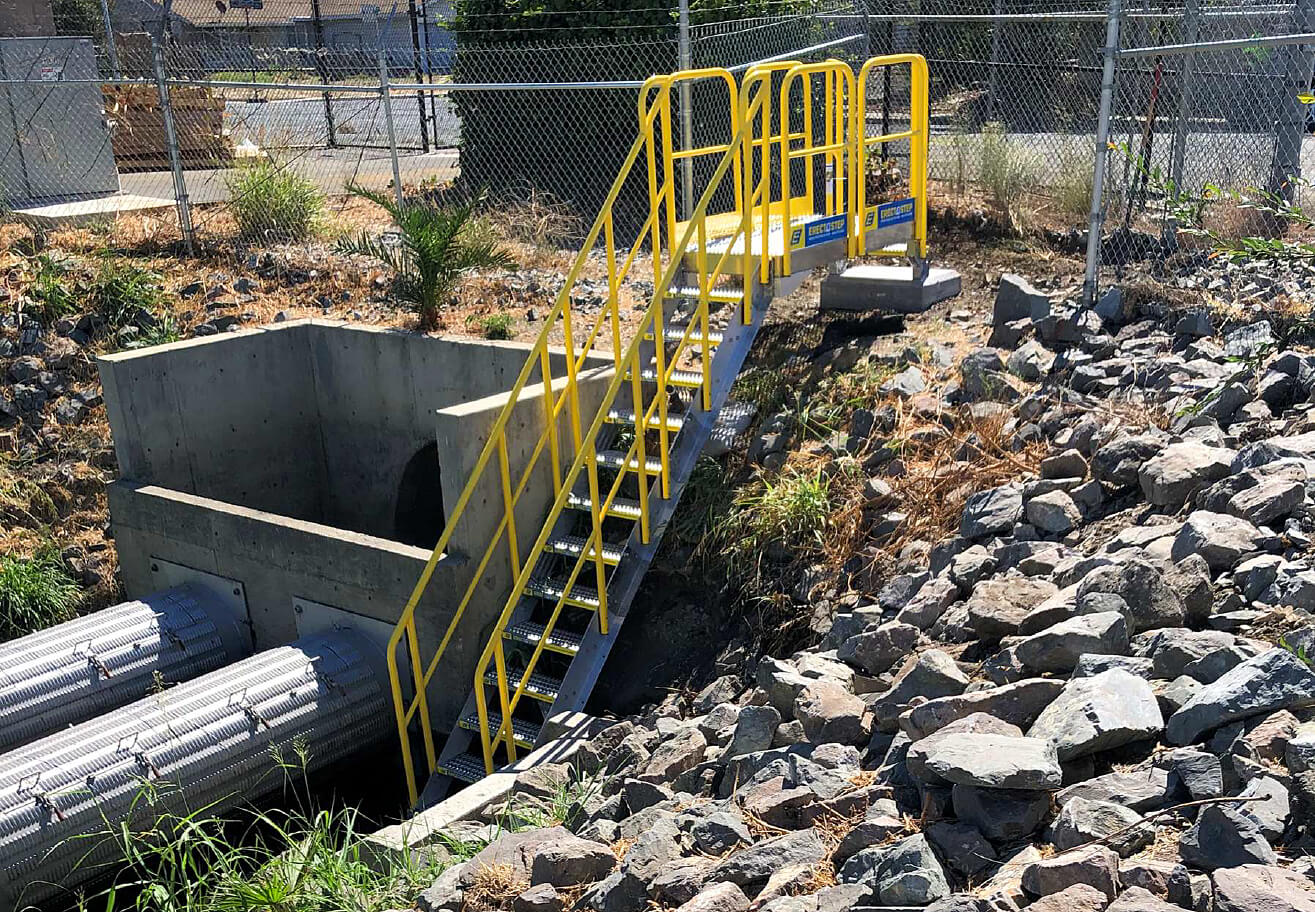 stormwater catch basin access stairs