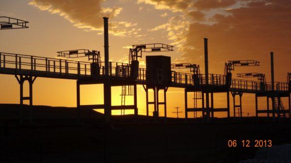 SafeRack Crude Oil Railcar Loading Platform at Sunset