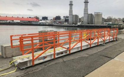 MarinaStep TG Series Truss Gangway system for barge loading, Lafarge Holcim NY