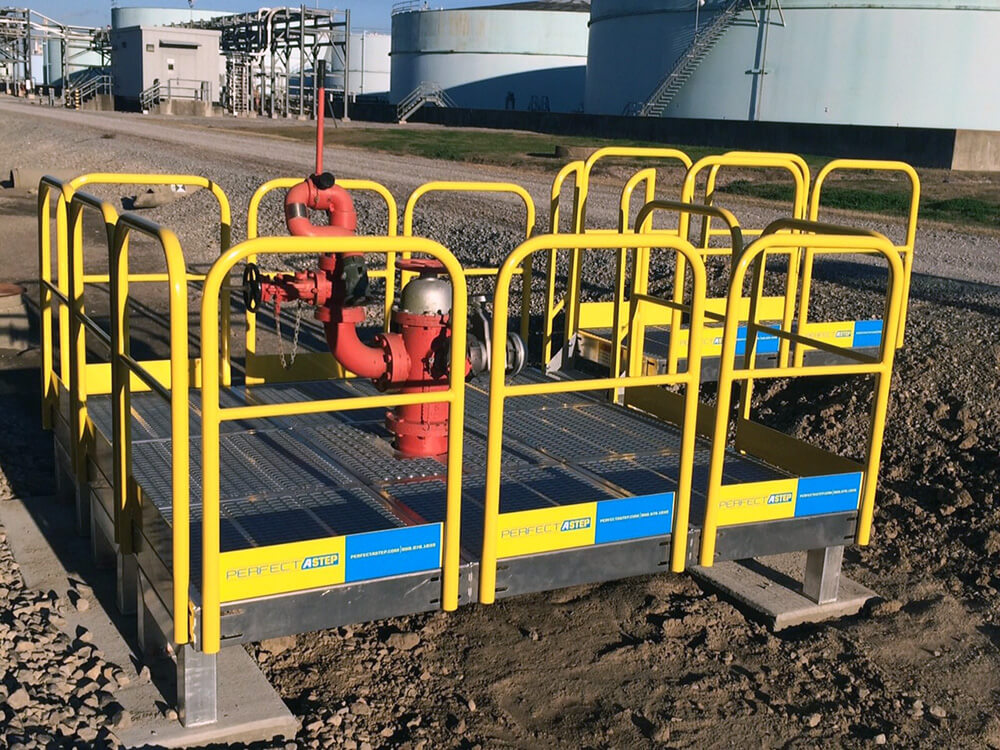 Metal Work Platform With Guardrails