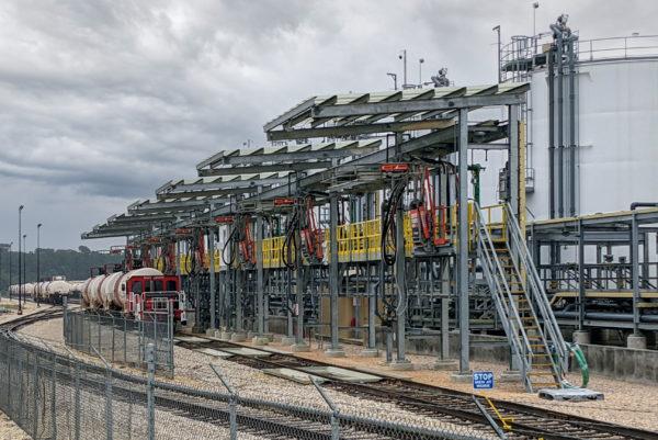 Railcar HCL Loadout Rack Installation
