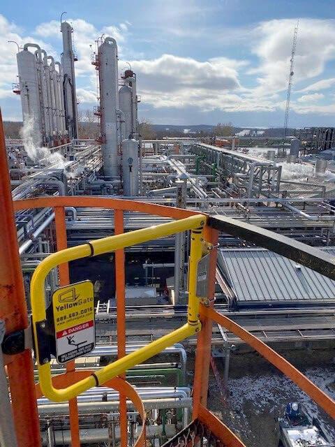 Industrial safety gate installation