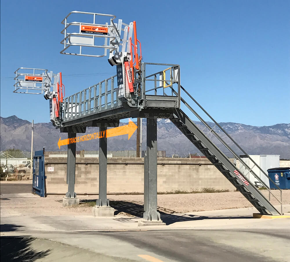 Tracking loading platform access gangway for truck or railcars
