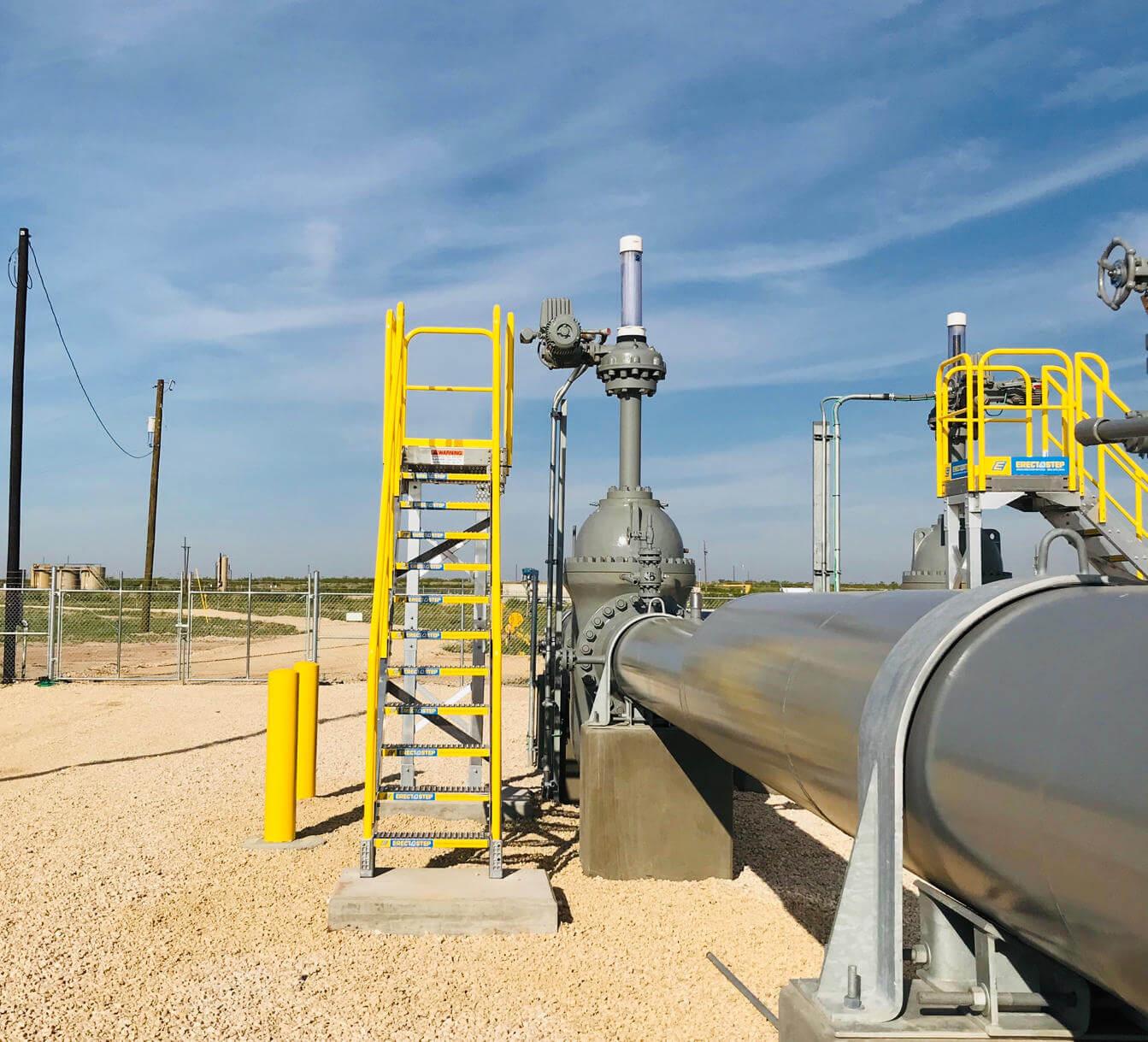 Metal platform installation to access pipeline valve