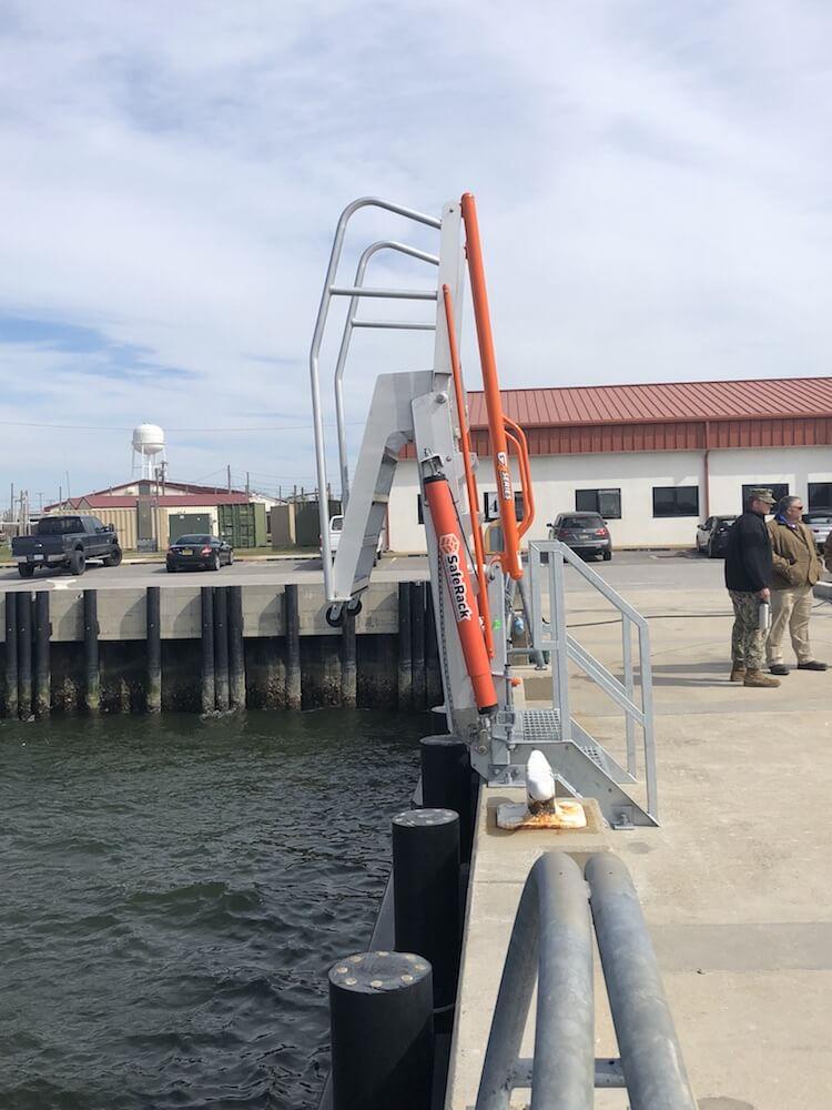 Raised marine naval gangway.