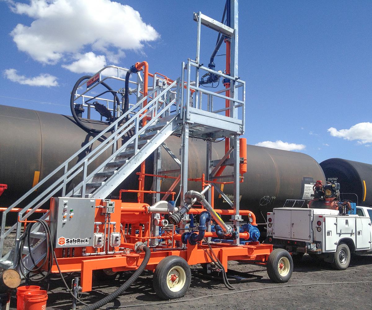 SafeRack railcar FRT gangway top loading transloader
