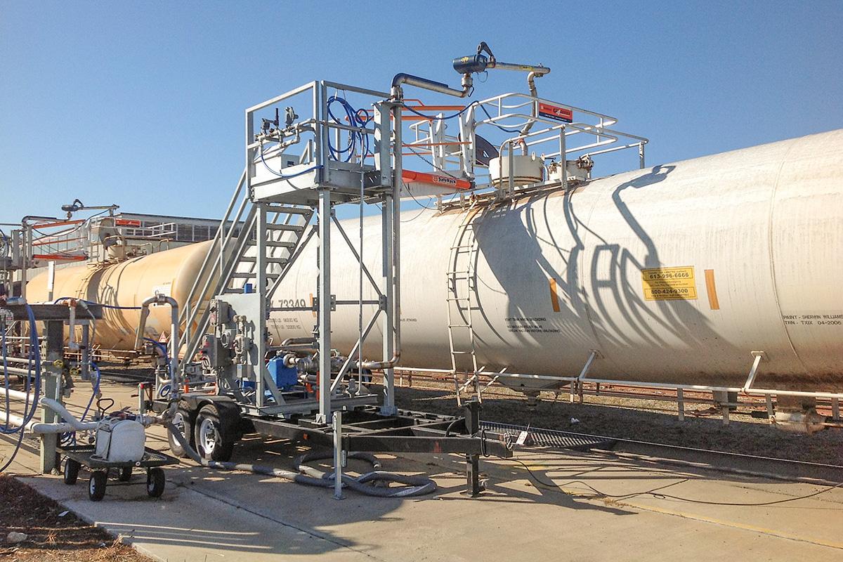 SafeRack Railcar Top Loading Arm FRT Gangway Transloader
