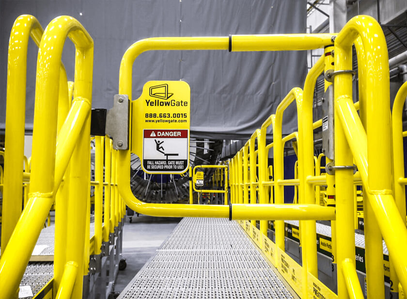 YellowGate safety swing gate on rolling mobile work platform