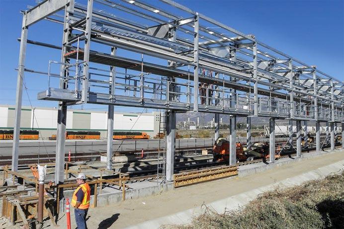 Industrial Pipe Racks being installed