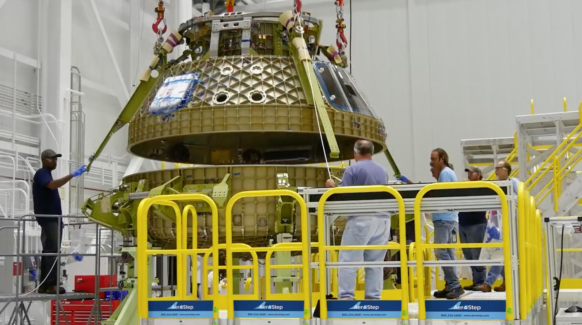 NASA space capsule on metal platform