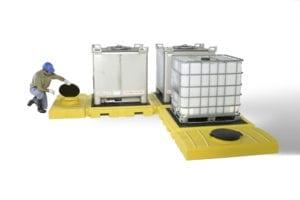 modular ibc spill pallet 3 tank model l shape