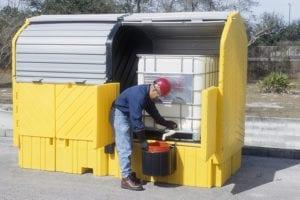 twin ibc hardtop spill pallets dispensing