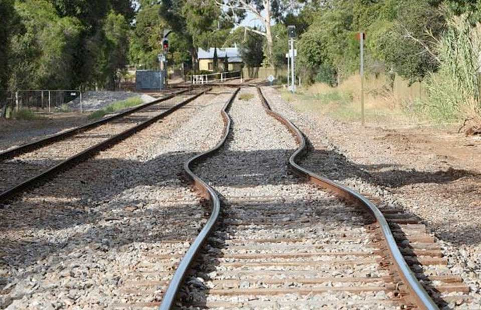 Railroad tracks warped by heat