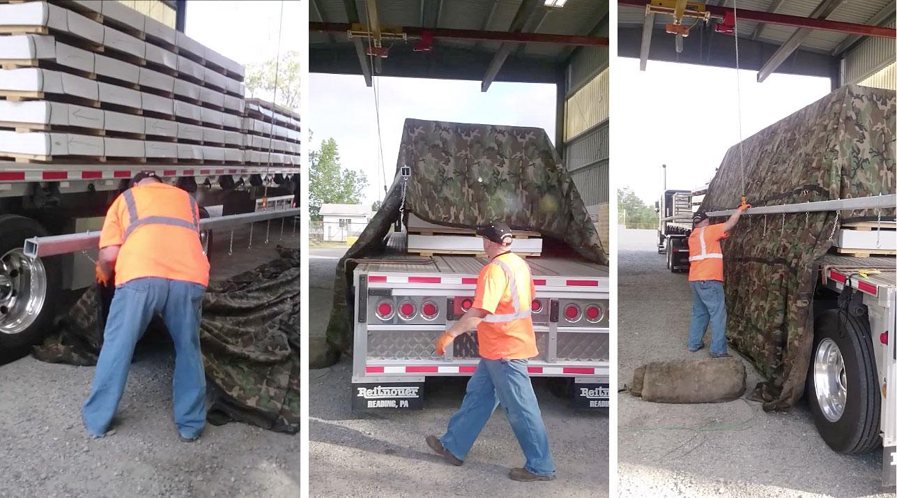 Overhead tarping in operation