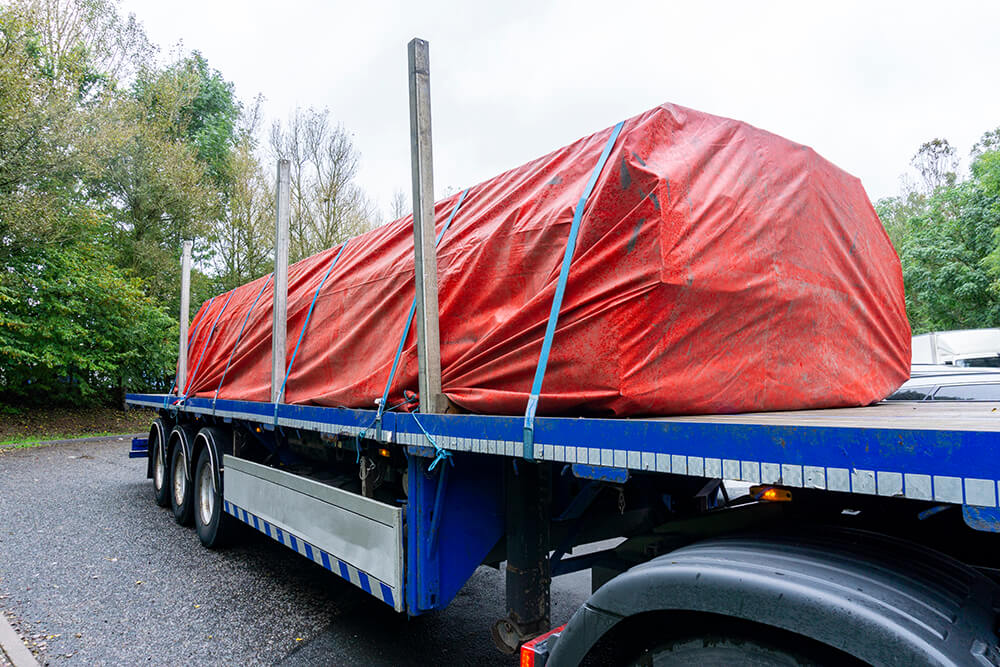 truck with tarped load