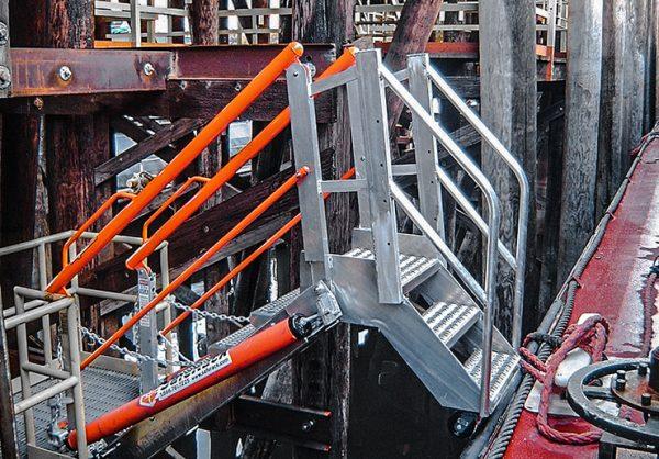 Marine dock self adjusting stair SAS gangway