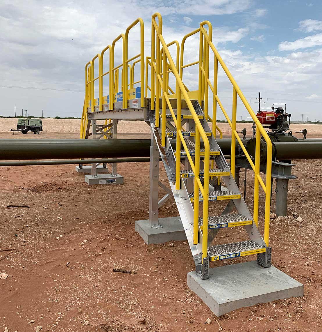 8-Step Metal Stair Tank Farm Pipe Crossover