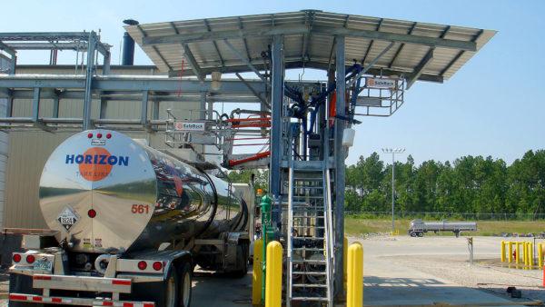 Hydrochloric Acid HCL Truck Loading platform with canopy