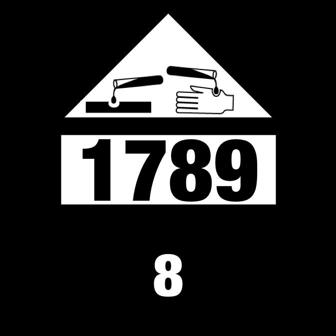 UN 1789 Class 8 HYDROCHLORIC ACID Placard