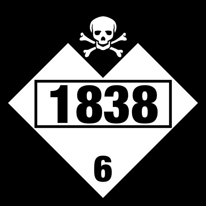 Titanium Tetrachloride (TiCl4) UN1838 Placard